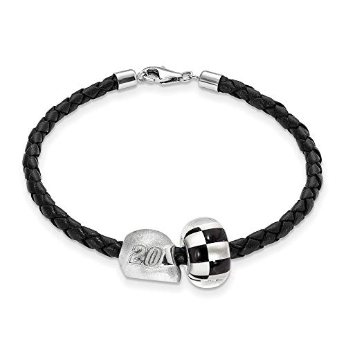 Bonyak Jewelry SS LogoArt NASCAR #5 Erik Jones Glass & Helmet Bead Leather Bracelet in Sterling Silver