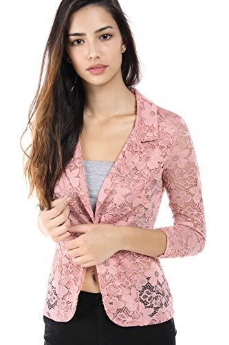 Fashion Magazine Womens One Button Office Knit Blazer Jacket,Made in USA  Pinklace,XX-Large -