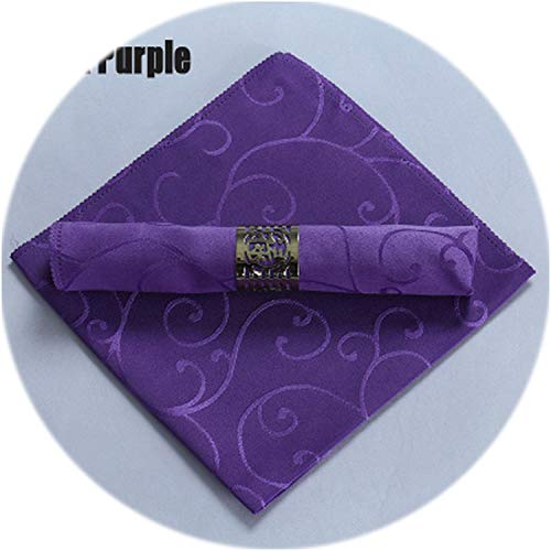 QIUHUAXIANG 6Pcs/Lot Europe Crocheted Vine Flower Square Polyester Table Napkin Folding Cloth for Restaurant Hotel Decoration Serviette,Dark Purple