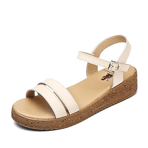 Xing Lin Ladies Sandals Slope With Sandals Women Summer High Heel Leather Casual Sandals Women Cool Slippers Students 871 beige