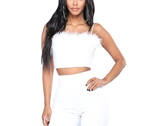 HitZoom Women Sexy Faux Fur Deco Spaghetti Strap Cami Slim Crop Top (S, White)