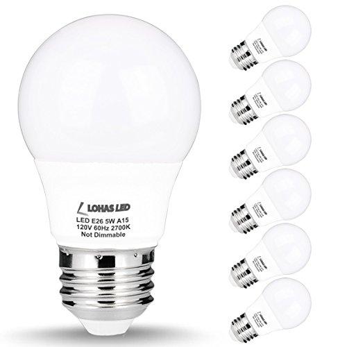 LOHAS A15 LED Bulb, 5W(40W Equivalent), Medium Base E26 LED Light Bulbs, 2700K Warm White, 450LM LED Lights, (Appliance Lightbulb Led)