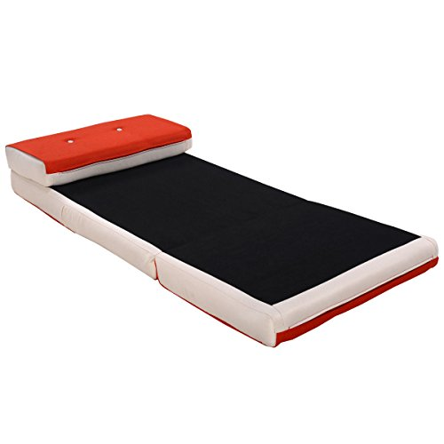 Fold Down Chair Flip Out Lounger Convertible Sleeper Bed Couch Game Dorm Orange by Tumsun (Image #4)