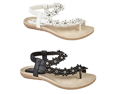 Størrelse Tå Blomst Diamante Hvit Slynge Damer Mote Sandaler Flat Flop Skinn Faux Flip 3 Tilbake 8 Post Jo Joe p8Iq1ZW