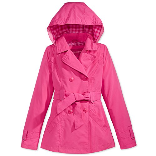 london-fog-big-girls-double-breasted-belted-trench-with-gingham-printed-lining-fuchsia-10-12