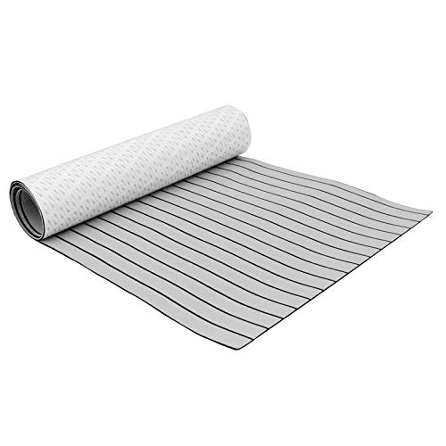 Mophorn 94.5 X 35.4 Inch EVA Foam Faux Teak Decking Sheet Non-Slippery Self-Adhesion Decking Sheet for RV Swimming Pool Garden Boat Yacht Marine Flooring in Wet Dry Conditions (Grey with Black Lines)