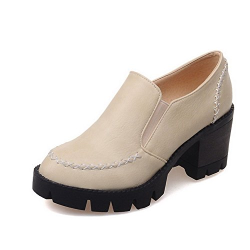 VogueZone009 Women's Kitten-Heels Soft Material Solid Pull on Round Closed Toe Pumps-Shoes Beige avXWmYJY