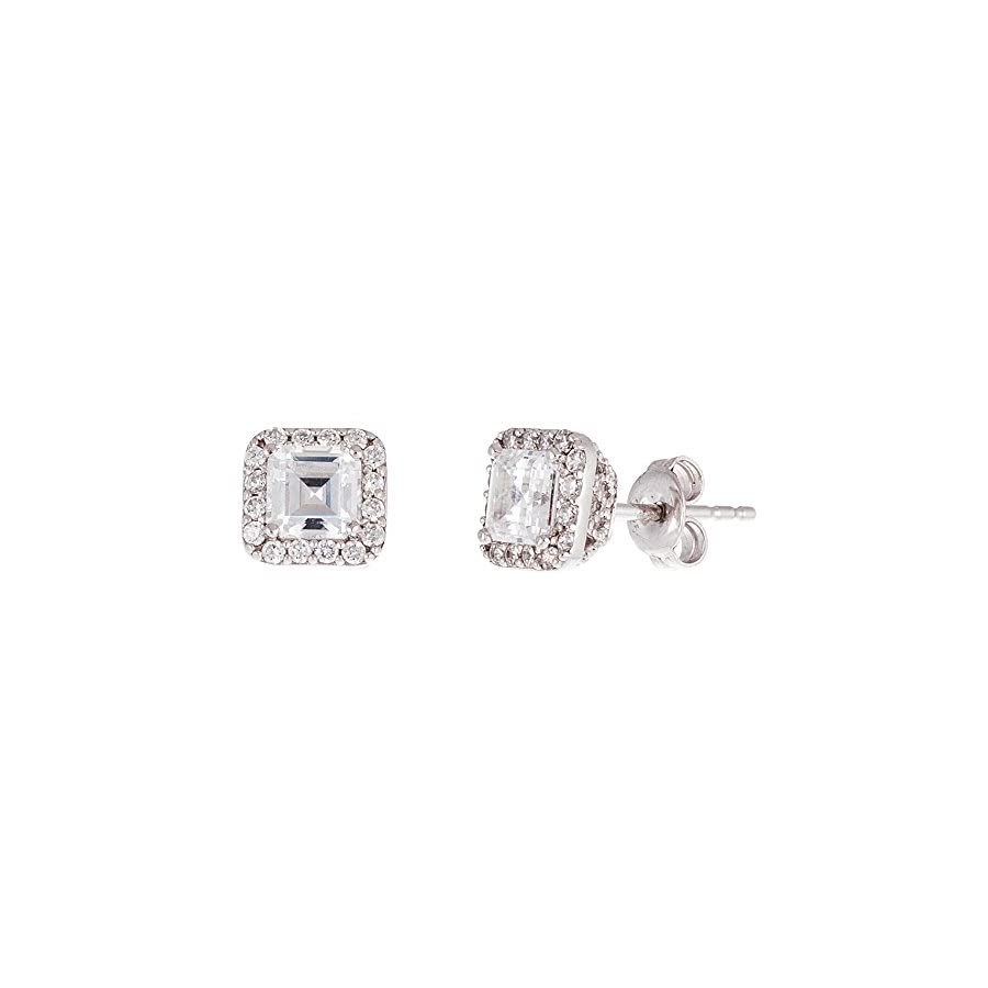 MIA SARINE Square Emerald Shaped Cubic Zirconia Stud Bridal Gift Earrings for Women in Rhodium Plated 925 Sterling Silver