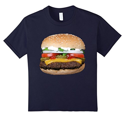 Kids Burger Cheeseburger matching with Fries costume t-shirt 8 Navy (French Fry Costume Kids)