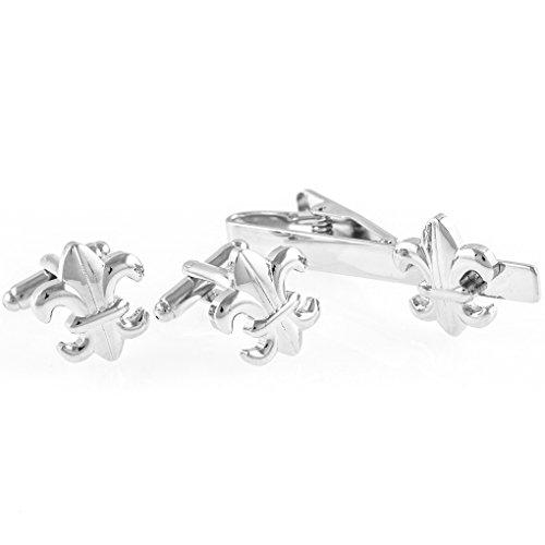MRCUFF Fleur-de-LYS Fleur De Lis Pair Cufflinks & Tie Bar Clip in Presentation Gift Box & Polishing Cloth