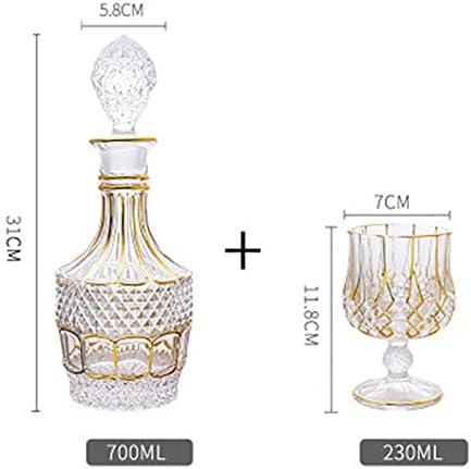 Set de whisky de cristal para hombre 700 ml con 6 vasos para whisky licor Whisky Whisky Whisky Set para el hogar (color: transparente, tamaño: 7 piezas)
