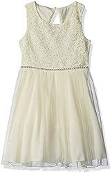 Speechless Big Girls' Lace Glitter Dot Jeweled Waist Dress, Yellow, 7