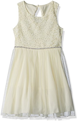 Glitter Dress Dot (Speechless Big Girls' Lace Glitter Dot Jeweled Waist Dress, Yellow, 12)