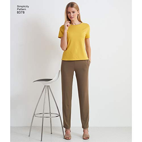 Simplicity Sewing Pattern D0947 / 8378 - Misses' Knit Pants with Two Leg Widths and Options for Design Hacking, A (XXS-XS-S-M-L-XL-XXL)