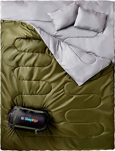 Sleepingo Double Sleeping Bag for Backpacking, Camping, Or Hiking. Queen Size XL Cold Weather 2 Person Waterproof Sleeping Bag for Adults Or Teens. Truck, Tent, Or Sleeping Pad, Lightweight