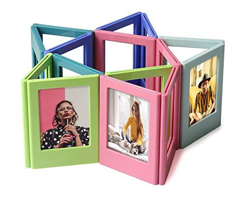 Magnetic Refrigerator Photo Frames Colorful Photo Fridge Sticker 3.5''*2.5'' Photo Album DIY Building Blocks Assembled Photo Set Mini Picture Frame for Polaroid 10 Pieces