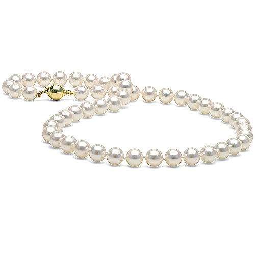Japanese Saltwater White Akoya Cultured Pearl Necklace, 7.0-7.5mm - AA+ Quality, 16-Inch Choker Length, 14K Yellow Gold Ball Clasp- High Polish by Pure Pearls