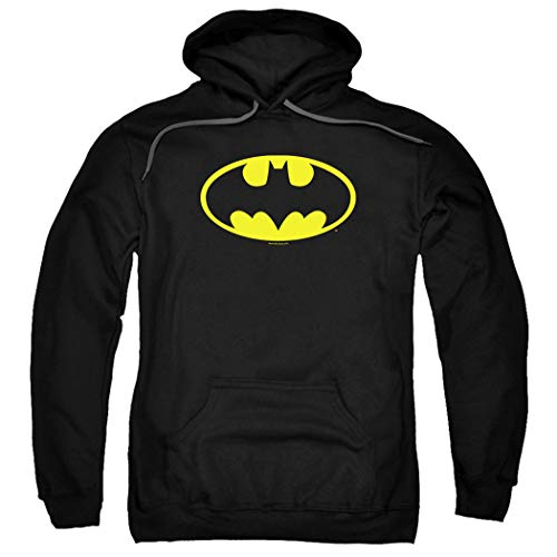 Batman Classic Logo Pull-Over Hoodie Sweatshirt (X-Large) Black -