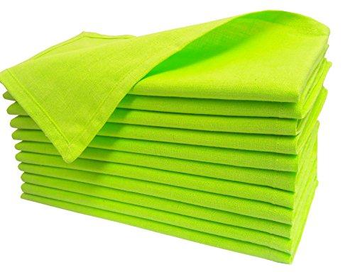 Cloth dinner Napkins-Flax Cotton Fabric-Lime Green color,Measuring 19x19,Wedding Napkins,Cocktails Napkins,Dinner Napkins,Decorative Napkins,Mitered Corners,Machine Washable Dinner Napkins Set of 12]()