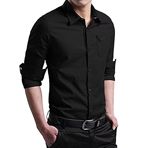 Clearance Sale! ! Charberry Mens Slim-Fit Lapels Long-Sleeved Shirt Top Military Cargo Slim Button Dress Shirt Top Blouse (US-M/CN-L, Black)