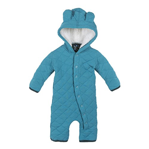 (KicKee Pants Boys Quilted Hoodie Coverall with Sherpa-Lined Hood, Bay with Pine, Newborn)