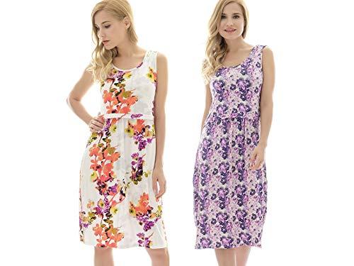 (Bearsland Women's Sleeveless Maternity Dress Nursing Breastfeeding Dresses with Pockets,lmpurple+whiteredf,s)