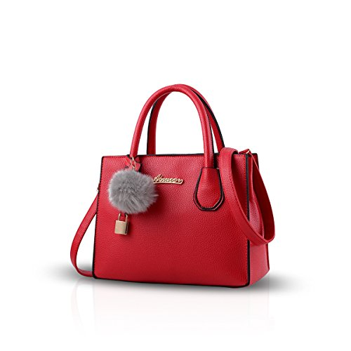 NICOLE&DORIS Moda Bolso Mujer Crossbody Tote Bolsa de La Compra Bolsa de Hombro PU Caqui Gran Rojo