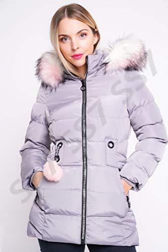 Black Age 3 to 16 SS7 Girls Padded Coat Showerproof Parka Faux Fur