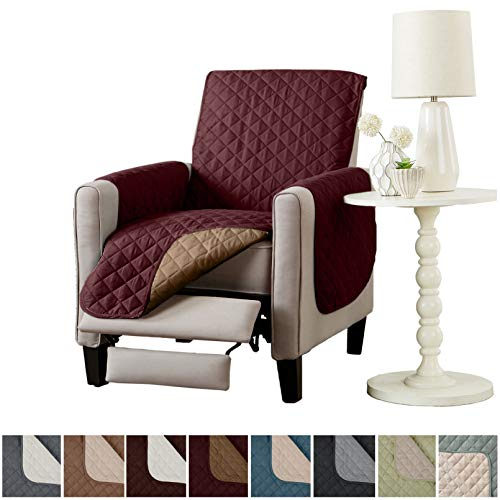 Home Fashion Designs Deluxe Reversible Quilted Furniture Protector and PET Protector. Two Fresh Looks in One. Perfect for Families with Pets and Kids Brand. (Recliner - Burgundy/Taupe)