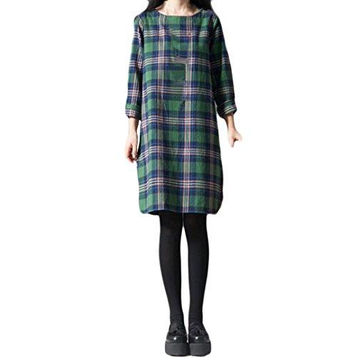 Women's Dress, Koolee Plus Size Autumn Lady Plaid Lattice Cotton and Linen Long Sleeves Loose Long Section Dress (3XL, Green)