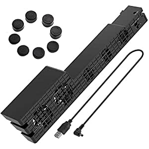 PS4 Pro Cooler, USB External 5-Fan Super Turbo Temperature Cooling Fan with USB Cable Black comfortable with Sony Playstation 4 Pro Gaming Console