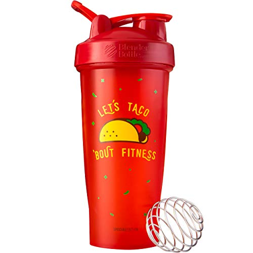 BlenderBottle Just for Fun Classic 28-Ounce Shaker Bottle, Let's Taco 'Bout Fitness