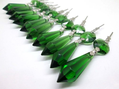 Sun Cling Chandelier Icicle Crystal 38mm, Pack of 20 (Green) ()