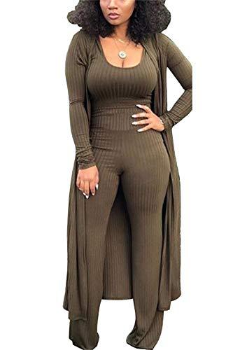 LKOUS Spring 3 Piece Outfits for Women Plain Long Sleeve Cardigan Cover Up Vest Crop Top High Waist Wide Leg Long Pants Set Plus Size
