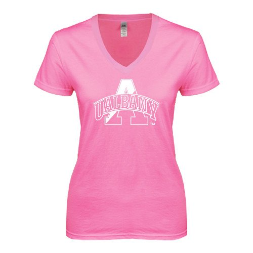 Albany Next Level Ladies Junior Fit Deep V Pink Tee 'UAlbany A Interlocked'