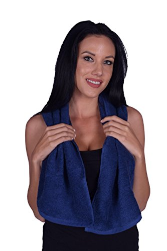 Terry Cotton Gym, Fitness, Sports, Yoga Towel, 100% Turkish Natural Soft Cotton, Made in TURKEY (Navy, 1 Towel) (Towel Terry Sport)