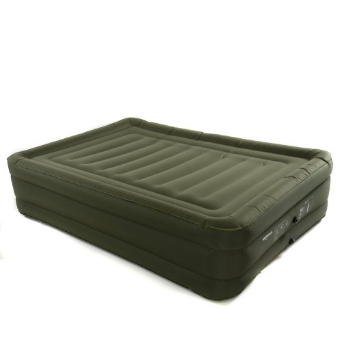 Smart Air Beds Raised Ultra Tough Inflatable Mattress with Rechargable Pump, Bag and Patch Kit (Green, Queen), Outdoor Stuffs