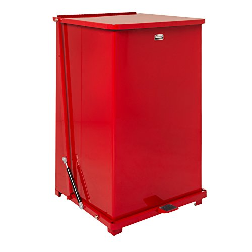 UPC 097591104835, Rubbermaid Commercial FGQST40EWRBRD The Silent Defenders Steel Wheeled Step Trash Can, Square with Retaining Band, 40-gallon, Red