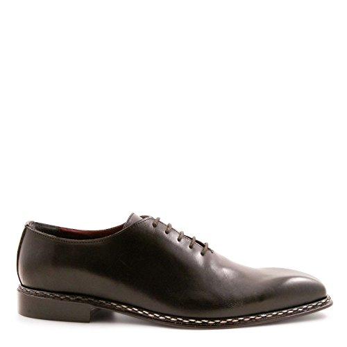 Leonardo Shoes Uomo 13822nero Scarpe Stringate In Pelle Nera