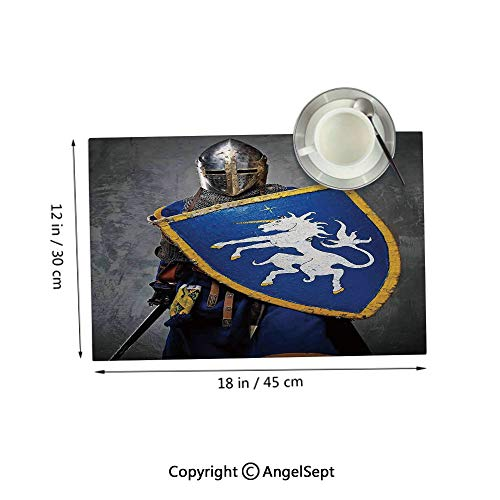 Placemats for Dining Table Kitchen,Medieval Knight Holding Shield and Sword Aged History Rusty Design ArtworkRoyal Blue Grey 12x18inches,Outdoor Placemats Set of 4