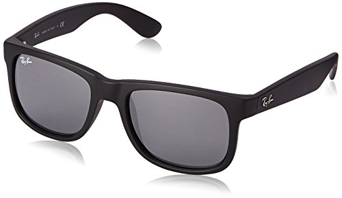 Ray-Ban JUSTIN - RUBBER BLACK Frame GREY MIRROR SILVER Lenses 51mm - Ray Ban Frame Black Rubber