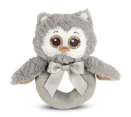 Owl For Baby Shower (Bearington Baby Lil' Owlie Plush Stuffed Animal Gray Owl Soft Ring Rattle,)