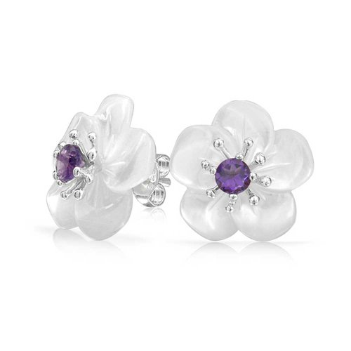 UPC 640626727846, Bling Jewelry Simulated Amethyst Mother of Pearl Flower 925 Silver Studs