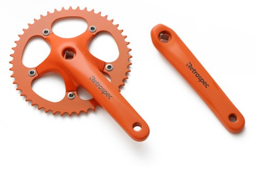 Retrospec Bicycles Fixed-Gear Crank Single-Speed Road Bicycle Forged Crankset, Orange, 46T