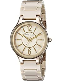 Women's AK/2182TNGB Glitter Accented Gold-Tone and Tan Ceramic Bracelet Watch