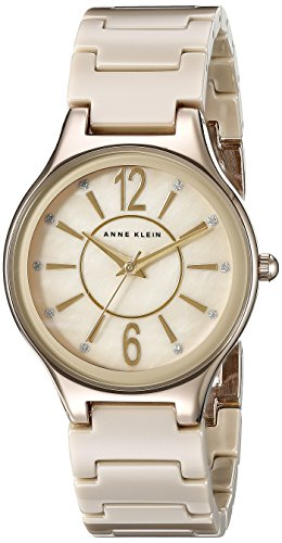 anne-klein-womens-ak-2182tngb-glitter-accented-gold-tone-and-tan-ceramic-bracelet-watch