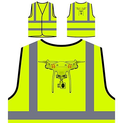 Drone Camera Pilot Personalized Hi Visibility Yellow Safety Jacket Vest Waistcoat r632v