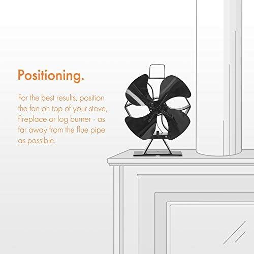 circulaci/ón de calor para una mejor distribuci/ón termoel/éctrico Ventilador para estufa funciona con calor respetuoso con el medio ambiente funcionamiento silencioso tama/ño XL apto para uso con estufas, 4 aspas VonHaus