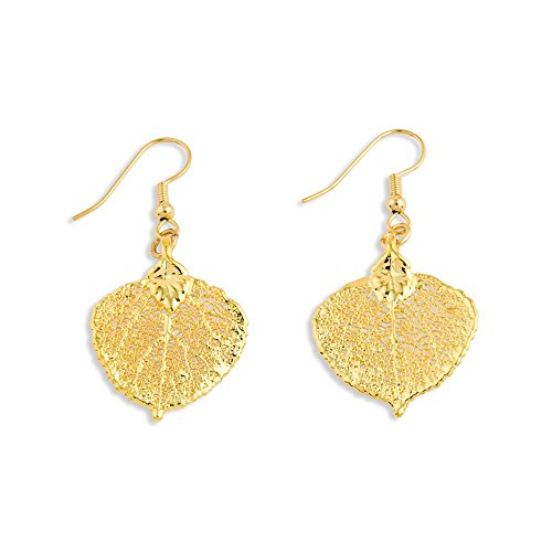 - IceCarats 24k Gold Dipped Aspen Leaf Dangle Earrings