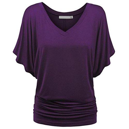 Kulywon Women's Plus Size Deep Sexy V Neck Short Sleeve T Shirt Blouse Purple ()